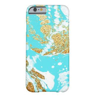 Modelo de mármol moderno del falso brillo del oro funda para iPhone 6 barely there