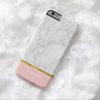 Modelo de mármol rosado y falsa hoja de oro funda barely there iPhone 6