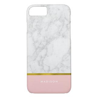 Modelo de mármol rosado y falsa hoja de oro funda iPhone 7