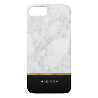 Modelo de mármol y falsa hoja de oro funda iPhone 7