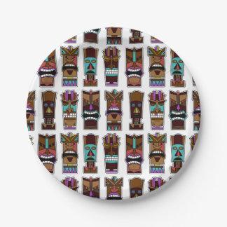Modelo de máscaras de Tiki Plato De Papel De 7 Pulgadas