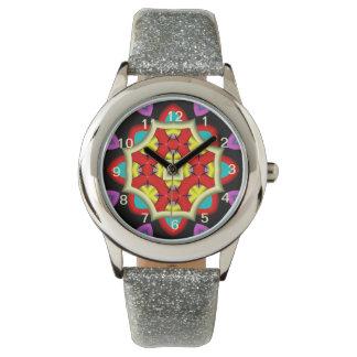 Modelo de moda colorido abstracto reloj de mano