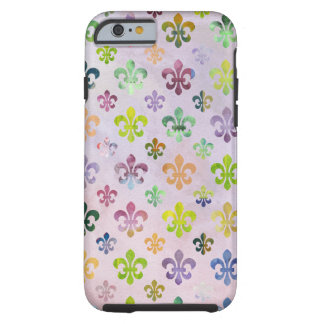 Modelo de moda de la flor de lis de la pintura de funda de iPhone 6 tough