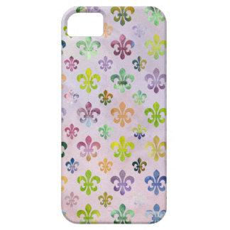 Modelo de moda de la flor de lis de la pintura de  iPhone 5 Case-Mate cobertura