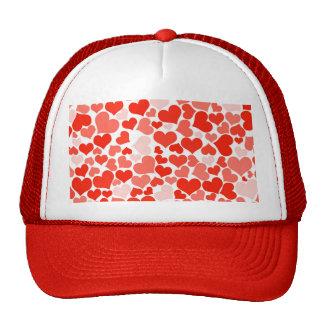 Modelo de moda de los corazones blancos rojos feme gorras de camionero