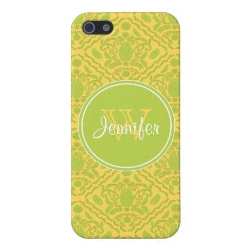 Modelo de moda del amarillo y de la verde lima, iP iPhone 5 Carcasas