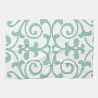 Modelo de moda del damasco de la verde menta toallas de mano
