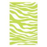 Modelo de moda del estampado de zebra de la verde   papeleria de diseño