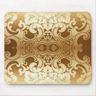Modelo de moda moderno del damasco del oro alfombrillas de ratones