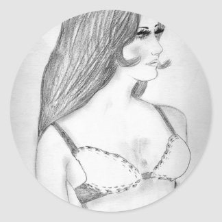 Modelo de moda retro de los años 70 pegatina redonda