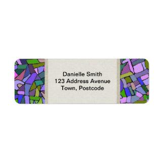 Modelo de mosaico abstracto rosado púrpura etiqueta de remite