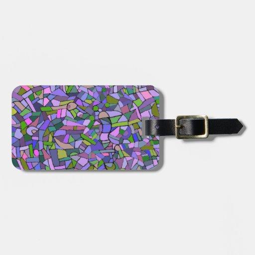 Modelo de mosaico abstracto rosado púrpura etiqueta para equipaje