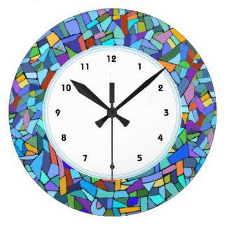 Modelo de mosaico azul abstracto numerado reloj