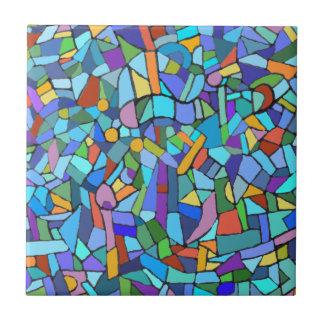 Modelo de mosaico azul colorido abstracto azulejo cuadrado pequeño