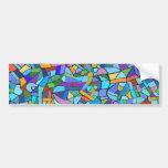 Modelo de mosaico azul colorido abstracto etiqueta de parachoque