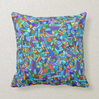 Modelo de mosaico azul colorido abstracto cojines