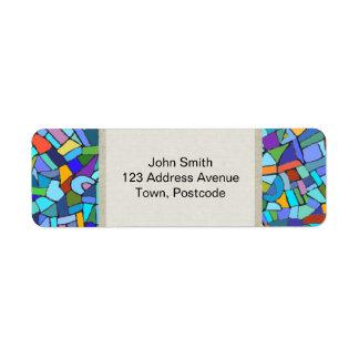 Modelo de mosaico azul colorido abstracto etiqueta de remite