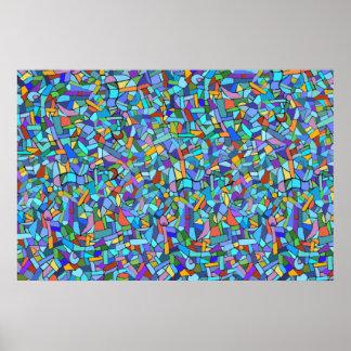Modelo de mosaico azul colorido abstracto posters