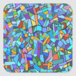Modelo de mosaico azul colorido abstracto pegatina cuadrada