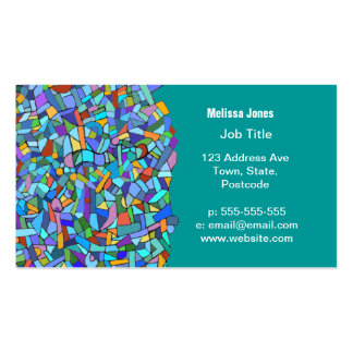 Modelo de mosaico azul colorido abstracto tarjetas de visita