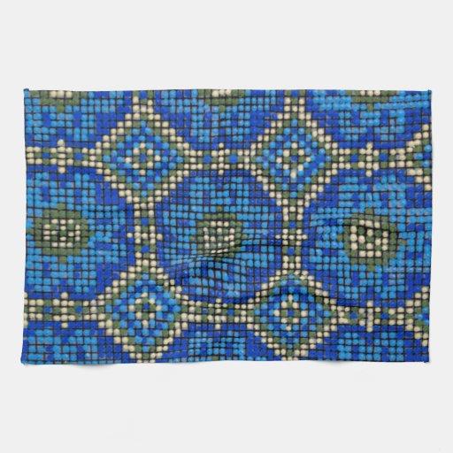 Modelo de mosaico azul del vintage toallas
