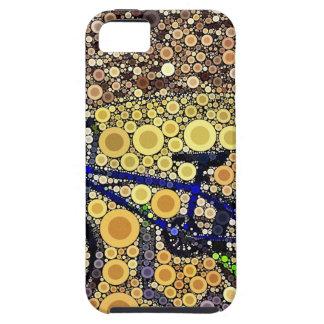 Modelo de mosaico azul fresco del círculo concéntr iPhone 5 protector