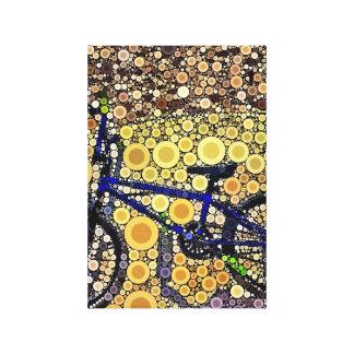 Modelo de mosaico azul fresco del círculo concéntr lienzo envuelto para galerias