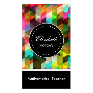 Modelo de mosaico colorido del profesor matemático tarjeta de visita