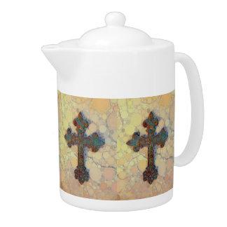 Modelo de mosaico cruzado cristiano fresco del