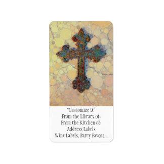 Modelo de mosaico cruzado cristiano fresco del cír etiquetas de dirección