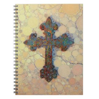 Modelo de mosaico cruzado cristiano fresco del libros de apuntes