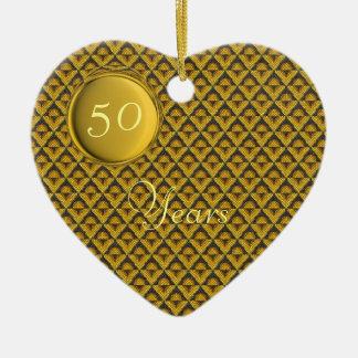 Modelo de mosaico de amarillo del boda de oro ornamentos de navidad