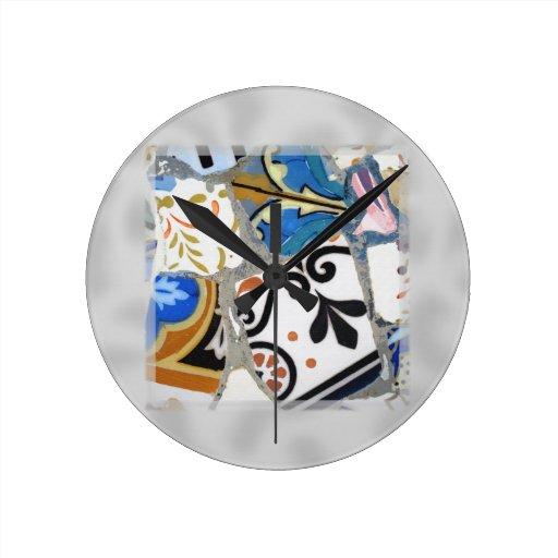 Modelo de mosaico de Gaudi Relojes De Pared