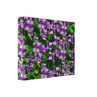 Modelo de mosaico de la violeta de madera de la impresión en lienzo
