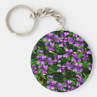 Modelo de mosaico de la violeta de madera de la llavero