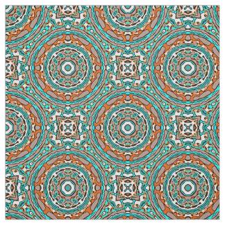 Modelo de mosaico étnico de la turquesa anaranjada telas
