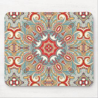Modelo de mosaico floral bonito del trullo rojo tapete de ratones