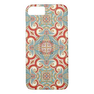 Modelo de mosaico floral del trullo rojo elegante funda iPhone 7