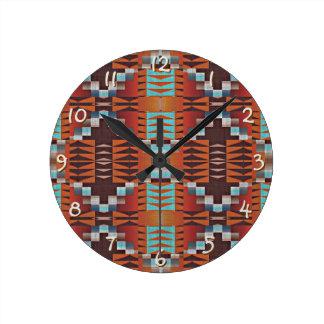 Modelo de mosaico indio de la cabina del nativo reloj redondo mediano