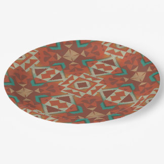 Modelo de mosaico indio de la tribu del nativo platos de papel