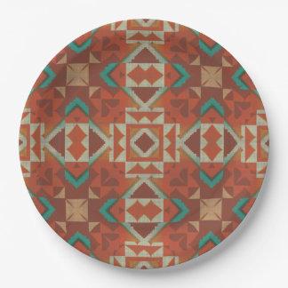 Modelo de mosaico indio de la tribu del nativo plato de papel 22,86 cm