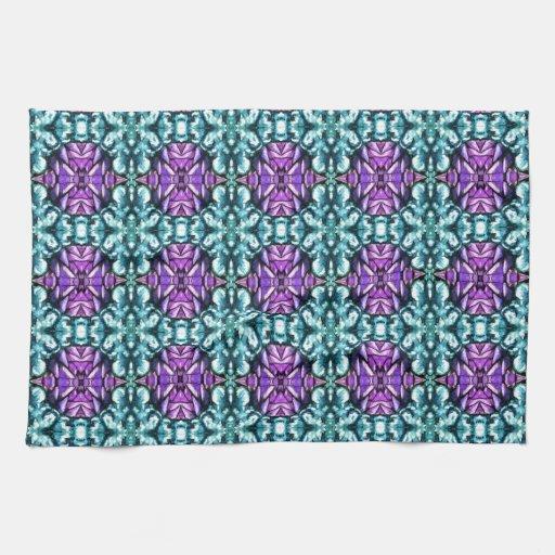 Modelo de mosaico redondo del bígaro y de la turqu toallas