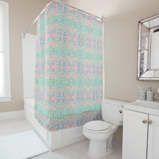 Modelo de mosaico retro rosado azulverde de cortina de baño