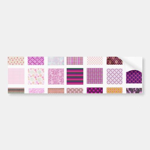 Modelo de mosaico rosado etiqueta de parachoque