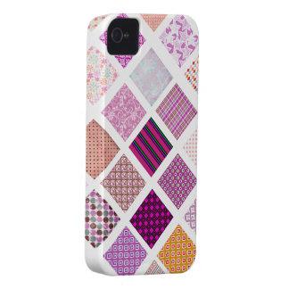 Modelo de mosaico rosado iPhone 4 Case-Mate protector