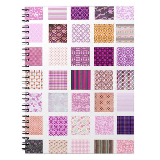 Modelo de mosaico rosado libro de apuntes con espiral