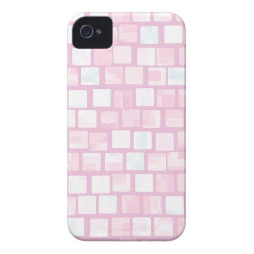 Modelo de mosaico tejado rosa del bloque Case-Mate iPhone 4 protector
