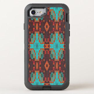 Modelo de mosaico tribal del rojo anaranjado del funda OtterBox defender para iPhone 7