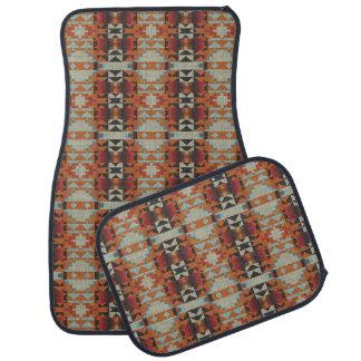 Modelo de mosaico tribal nativo azul rojo marrón alfombrilla de auto