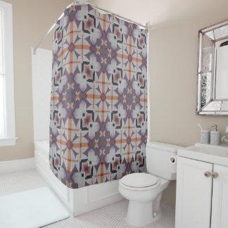 Modelo de mosaico tribal nativo púrpura anaranjado cortina de baño